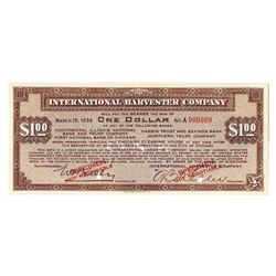 International Harvester Co., 1933, Specimen Depression Scrip Note