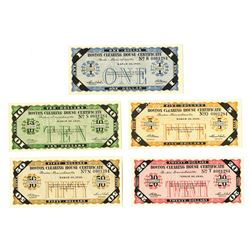 Boston Clearing House, 1933, Quintet of Certificates with Matching Serial Number