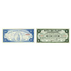 Lansing Dealer's Association Inc & City of Flint, 1933-1934, Pair of Scrip Notes