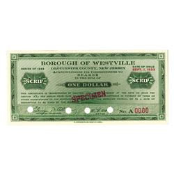 Borough of Westville, 1933, Depression Era Specimen Scrip Note