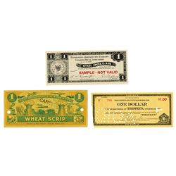 Trio of c. 1930s Specimen and Issued $1 Depression Scrip Notes from Oregon, New York and Ohio