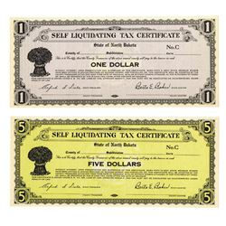 State of North Dakota, Self Liquidating Tax Certificate 1933, Series C,  Depression Scrip Pair.