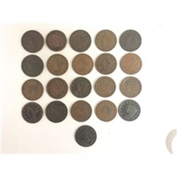 U.S. Large Cents, ca. 1817 to 1856 Assortment, From 200 Year Old New Jersey Estate