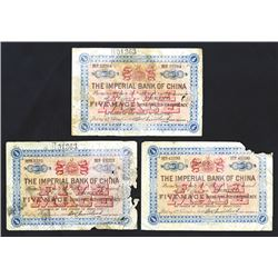 "Imperial Bank of China, 1898 ""Peking"" Branch Issue Banknote Trio with Problems."