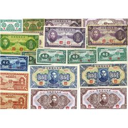Central Reserve Bank of China, 1940 to 1944 Issue Banknote Assortment.