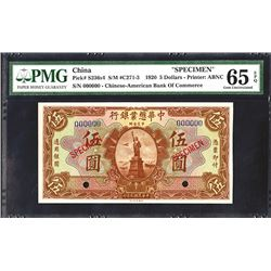 Chinese-American Bank of Commerce, 1920 Issue Specimen.