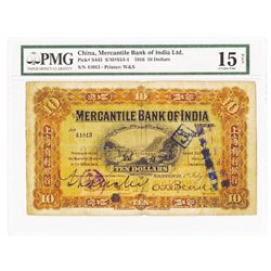 "Mercantile Bank of India, 1916 ""Shanghai"" Issue Banknote."
