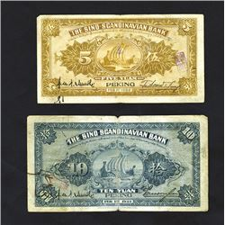 "Sino -Scandinavian Bank, 1922 ""Peking"" Branch Issue pair."