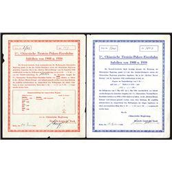 A Pair of 5% Chinesische Tientsin-Pukow-Eisenbahn-Anleihen von 1908 u. 1910, ca.1937 Bonds.