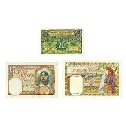 Banque de L'Algerie, 1941-1948, Trio of Issued Banknotes