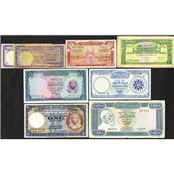 Various Arab Governments, Egypt, Lebanon, Iraq and others, ca.1942-1972, Group of 8 Issued Notes