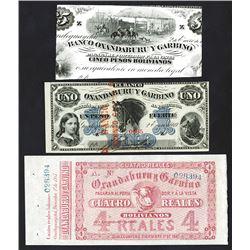 Banco Oxandaburu y Garbino, 1867-1869, Trio of Proof, Remainder & Issued Notes