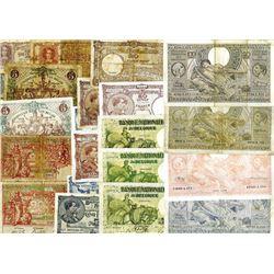 Banque Nationale de Belgique and Societe Generale de Belgique, 1920-1944 Issues, Lot of 22 Pieces