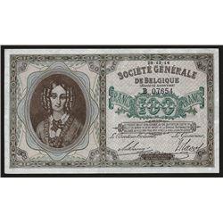 Societe Generale de Belgique, 1914, Very Rare Issued 100 Francs