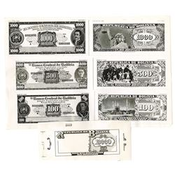 Banco Central de Bolivia, 1953, Set of 7 Photo Proofs for Unadopted Issue