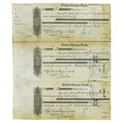 British Guiana Bank, c. 1860s-1890s, Proof First/Second/Third of Exchanges