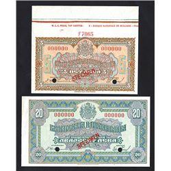 Bulgarian National Bank. 1922 Specimen Banknote Pair.