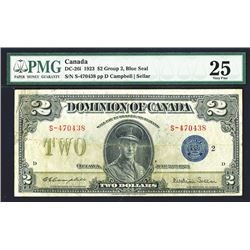 Dominion of Canada, $2, 1923 DC-26i Issued Banknote.