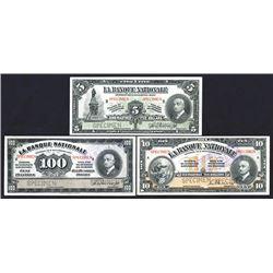 La Banque Nationale, 1922 Specimen Banknote Trio.