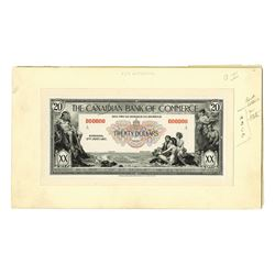 Canadian Bank of Commerce Progress Proof Banknote.