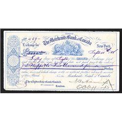 Merchants Bank of Canada, 1888 2nd of Exchange.