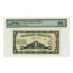 Province of Alberta Prosperity Certificate $1, 1936 Ch. # A-1.