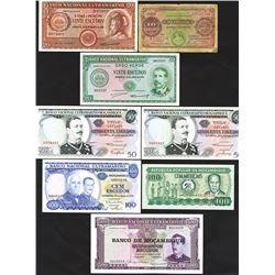 Banco Nacional Ultramarino, 1914-1980 Issues, Lot of 8 Notes