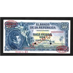 Banco De La Republica, 1953 Specimen Banknote.