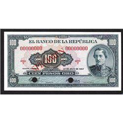 Banco De La Republica, 1967 Specimen Banknote.