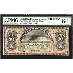 Banco De La Union, ND (1886-89) Specimen Banknote.