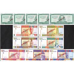 Banco Nacional de Cuba, 1986-1994, Dozen of Specimen Notes