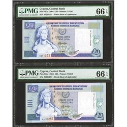 Central Bank of Cyprus, 2004 Issue Sequential Banknote Pair.