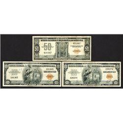 Banco Central de la Republica Dominicana. 1947 & 1956 ND Issue Trio.