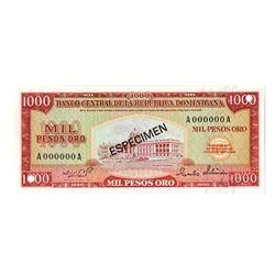 Banco Central de la Republica Dominica, (1964-1974), Specimen Banknote