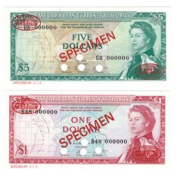 East Caribbean Currency Authority, 1965, Pair of Specimen Banknotes