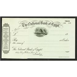 National Bank of Egypt. 19xx (ca.1910-20). Waterlow & Sons Specimen Check.