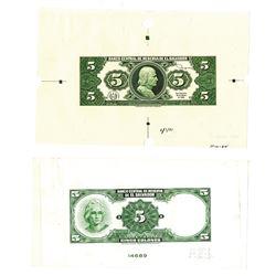 Banco Central de Reserva de El Salvador, 1964-1981, Uniface Proof Banknote Pair