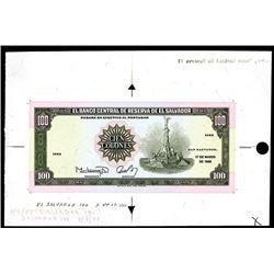 El Banco Central De Reserva De El Salvador, 1988 Issue Uniface Specimen.