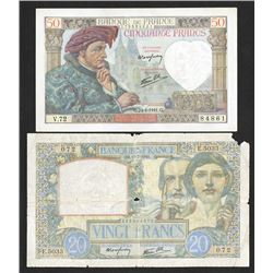 Banque du France, 1941, Pair of Issued Notes