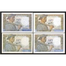 Banque du France, 1942-1949, Quartet of Issued Notes