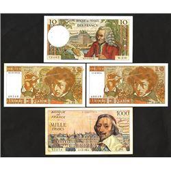 Banque du France, 1956-1978, Quartet of Issued Notes