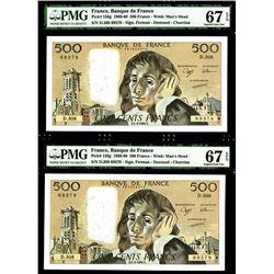Banque De France, 1990 High Grade Sequential Pair of Banknotes.