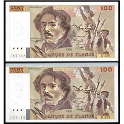 Banque de France, 1995 Issue Sequential Banknote Pair.