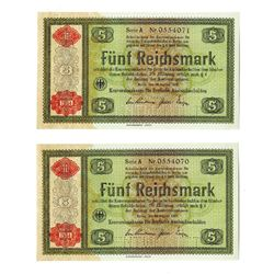 Conversion Fund for Germany Foreign Debt, 1934, Pair of Consecutive Notes