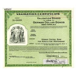 German Central Bank for Agriculture (Rentenbank), 1928, Specimen Validation Certificate