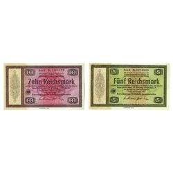 Konversionskasse, Third Reich, Conversion Fund for German Foreign Debts, 1933, Issued Note Pair.