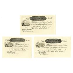 Northumberland Bank, 18xx (ca.1830-50's) Proof Provincial Banknote Trio.