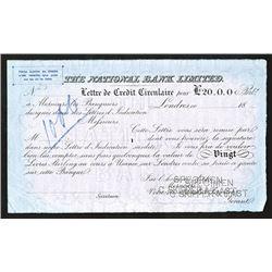 National Bank Limited, ca.1860-80's Specimen Letter of Credit.