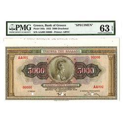 Bank of Greece, 1932, Specimen Banknote