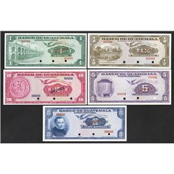 Banco De Guatemala, 1957-63 Specimen Set of 5 Notes.